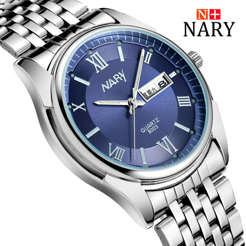Nary Watches Men Business Fashion Stainless Steel Wristwatch Waterproof Watches Quartz Watch Personality Casual Relogio W0806