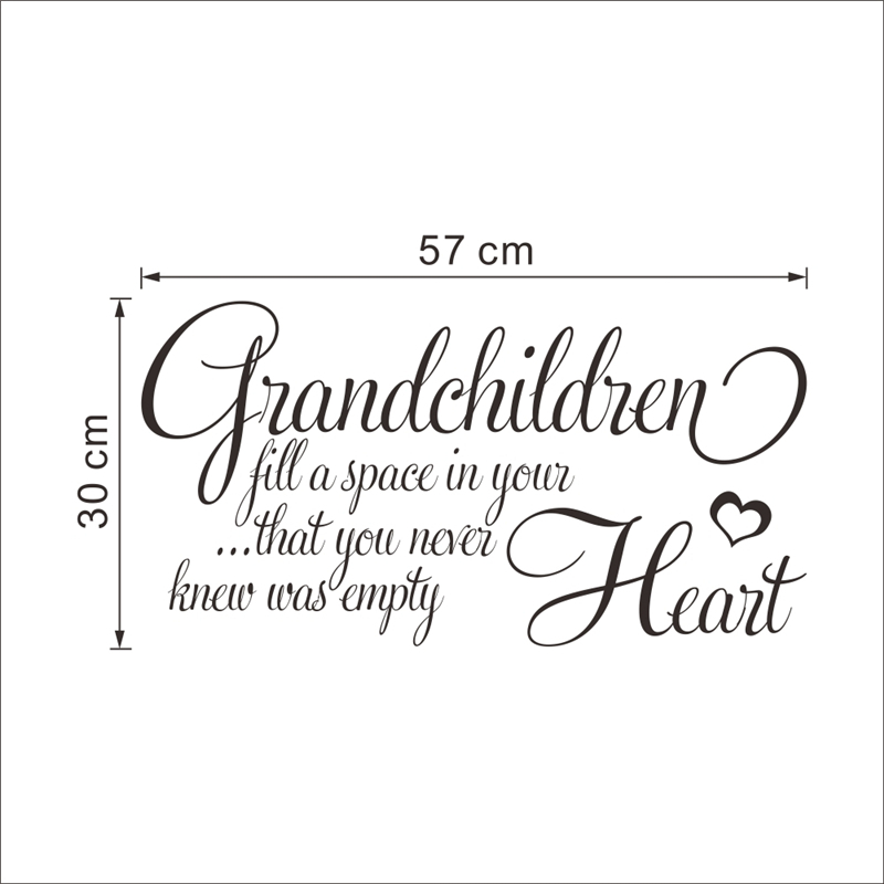 grandchildren fill a space in your heart quotes wall stickers for