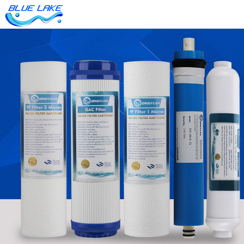 Five levels Reverse osmosis Pure water RO Purifier filter element sets,PP cotton,activated carbon,RO membrane,Water Filter Parts brand new 1pcs pure water machine self priming pump water pp cotton filter 2 points home appliance parts