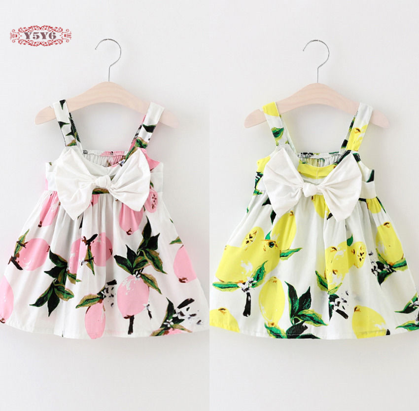 Summer Baby Girls Dress Sleeveless Floral Lemon Bowknot Sundress Clothes 0-3Y