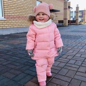 Image 3 - IYEAL/детская одежда для русской зимы лыжный костюм для малышей, парка пуховик + комбинезон комплекты одежды для девочек плотная теплая верхняя одежда для детей