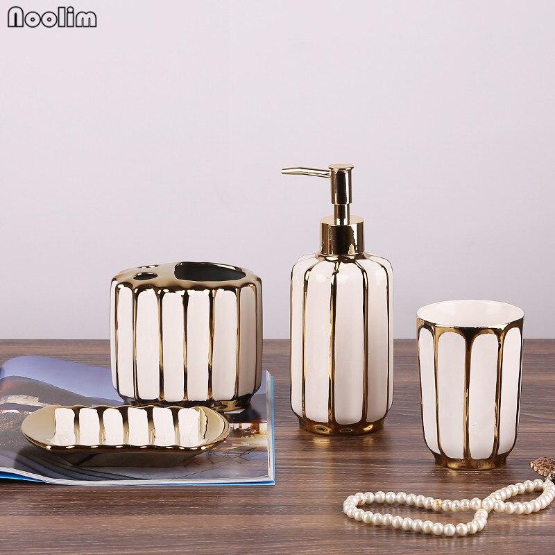 NOOLIM 4Pcs set Gold plated Bathroom Wash Set Nordic Toothbrush Holder Tumbler Liquid Soap Bottle Soap