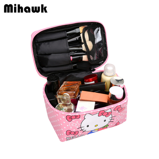 c9e3d343f981 Mihawk Hello Kitty Large Container Cosmetic Bags Women Beauty Case Mirror Make  Up Pouch Beautician Toiletry