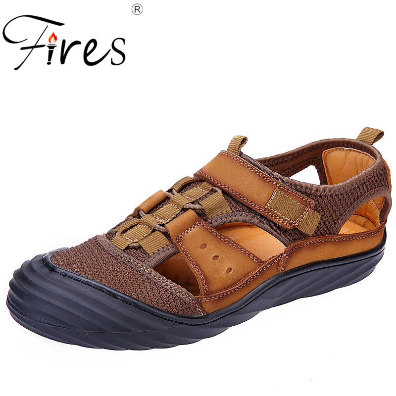 Fires Man Sandals Artificial Leather Flat Shoes Anti-collision Toe Outdoor Casual Shoes Fine Suture Nylon Buckle Leisure Sandal
