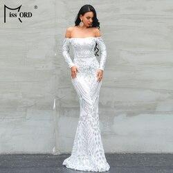 Missord 2020 женское сексуальное платье с вырезом лодочкой и длинным рукавом, с открытыми плечами, с блестками, женское ретро элегантное платье м...
