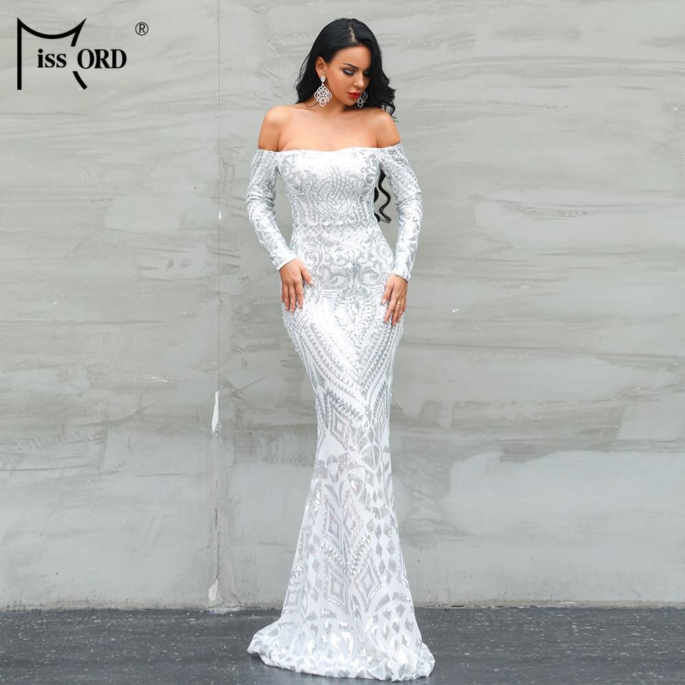 Missord 2020 Women Sexy Slash Neck Long Sleeve Off Shoulder Sequin Dresses Female Retro Elegant Maxi Dress Vestidos FT8249