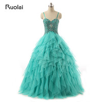 Real Photo Turquoise Quinceanera Dresses 2017 Princess Ball Gown Prom Dress with Crystal Beaded Vestido de 15 anos QD01