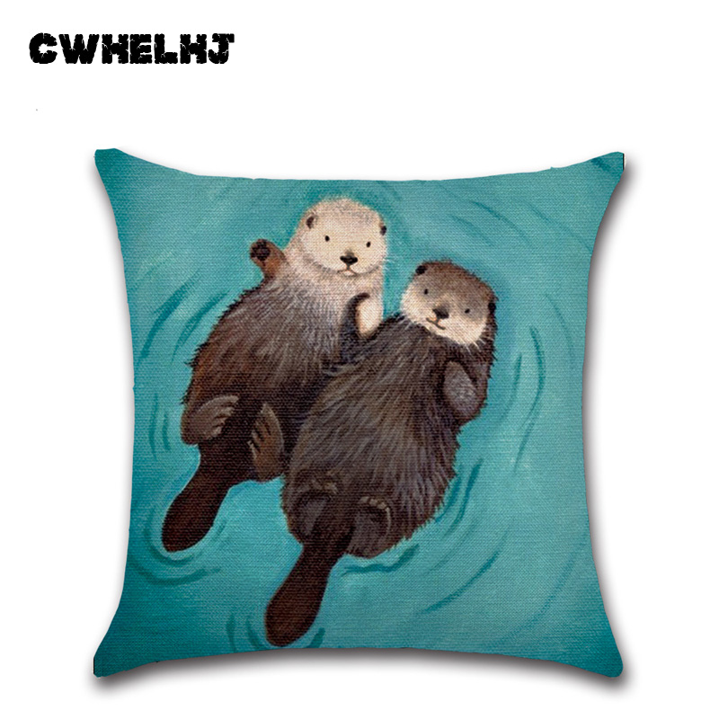 Handpainted Cute Holding Hands Romantic Otter Cushion Cover Linen Cotton Bedroom Sofa Cushion Cover Decorative Pillow Cases