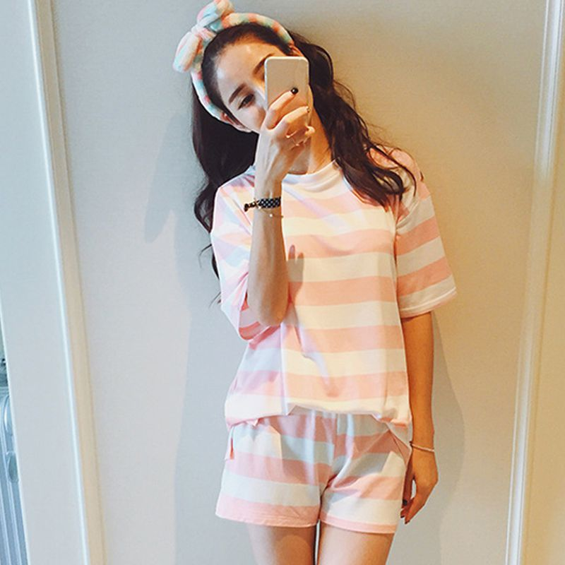 Womens Sleep Wear 2pcs O-neck Pink and White Striped Nightgowns for Girl Home Tshirt + Shorts Pajama Sets women Sleep & Lounge