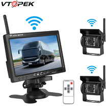 купить Universal 7 Wireless Car Monitor Backup Camera System Rearview Screen 4 Rear View Cameras IR Night Vision Waterproof For Truck дешево