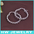 fashion silver huggie hoop earring with cubic zirconia stones