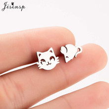 Jisensp Fashion Lovely Cat and Mouse Earrings for Women Everyday Jewel