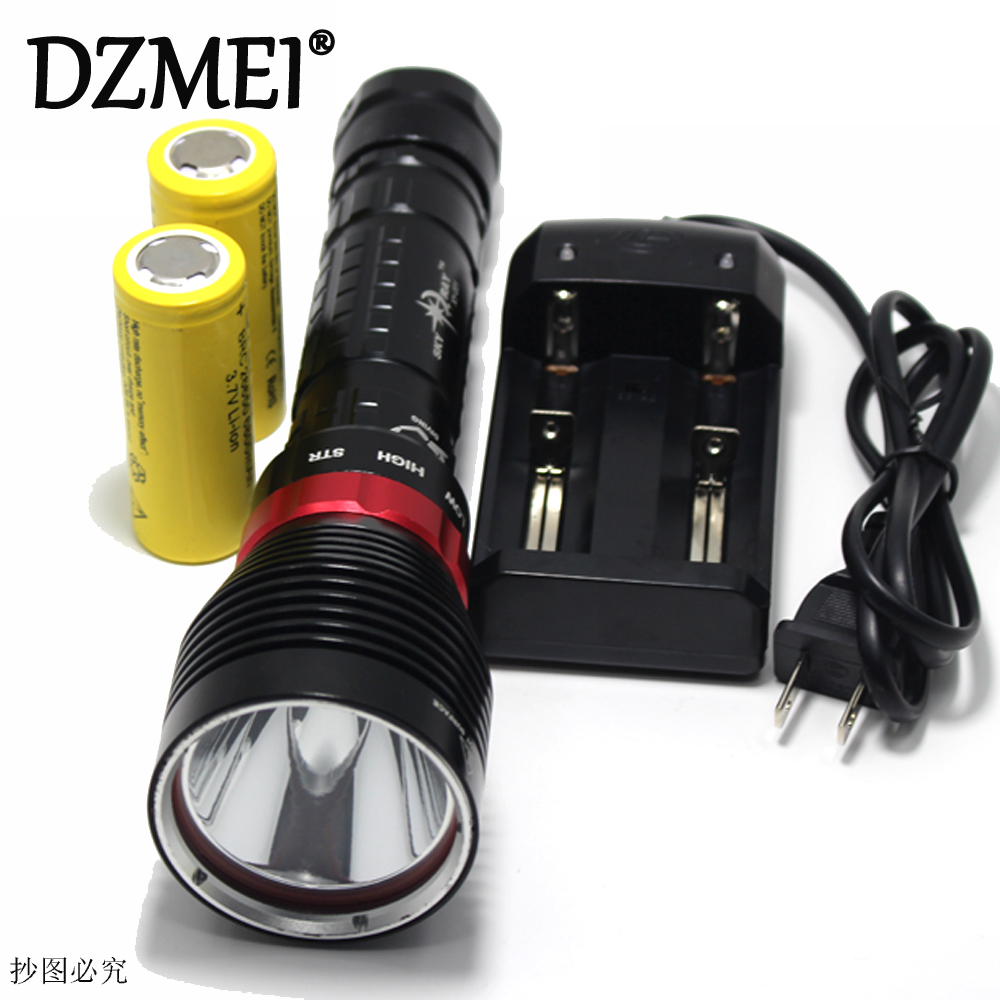 10W 3-Mode XM- L2 LED Diving Flashlight Torch 3800 Lumen100M Underwater Waterproof LED Flash Light Lamp Lantern by 26650 Battery