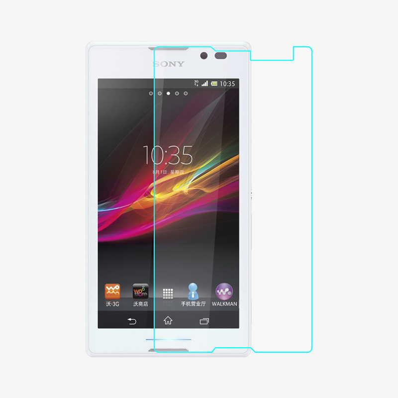 Tempered Kaca Screen Protector Untuk Sony Xperia C S39h S39 2305 C2304 C2305 Ganda Perlindungan Film Penjaga pelicula de vidro