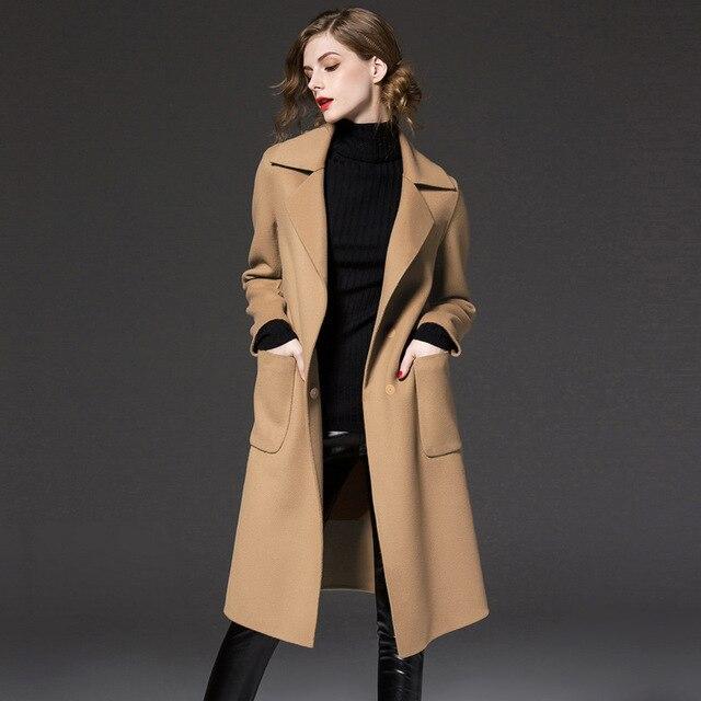 988ec8e66 Novas Mulheres Da Moda Plus Size Outono Inverno Clássico Simples De Lã Mulher  Casaco Longo de