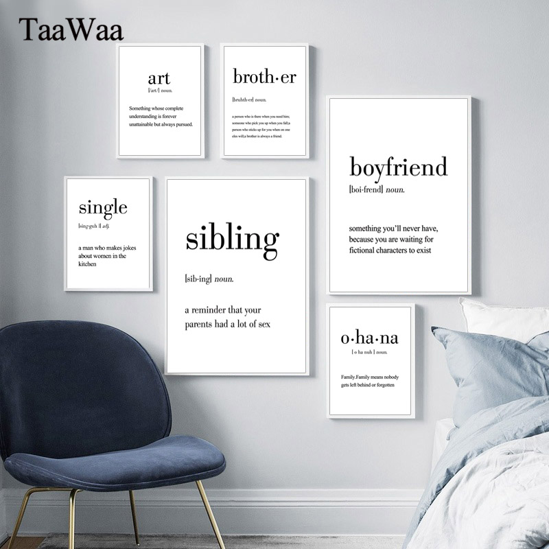 TAAWAA Definition Quotes Canvas Posters Black White Wall Art Minimalist Prints Paintings Nordic Picture Living Room Home Decor in Painting Calligraphy from Home Garden