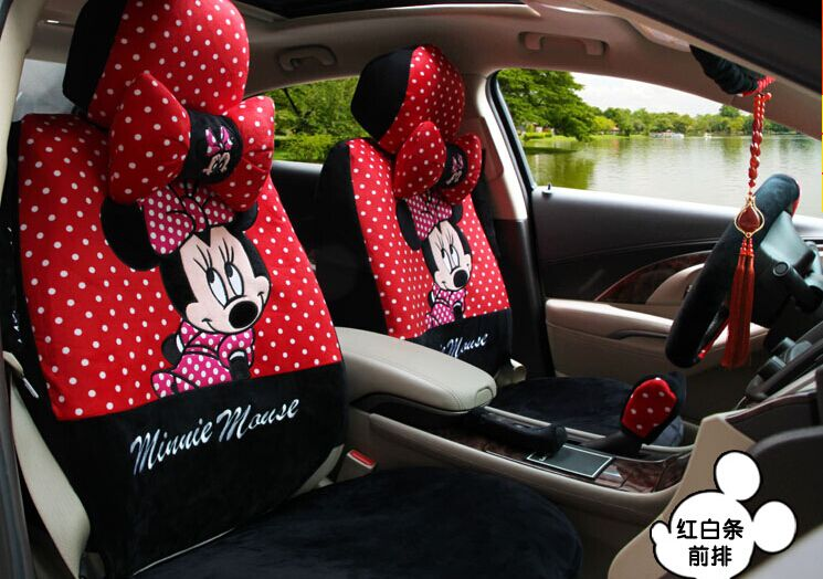 Unviersal Polka Dot Red Mickey Mouse Car Seats Cover Set Cute Minnie Auto Chairs Covers Full Front Rear All In One Automobiles Seat From