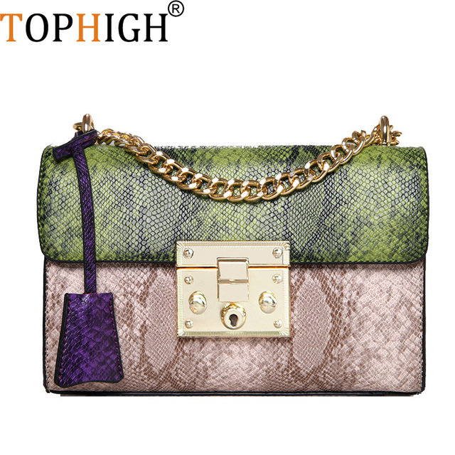 ee6d07b97e9 US $21.77 30% OFF|TOPHIGH Fashion Handbags Women Messenger Bag Chain  Crossbody bags Snake leather Brand Designer Bags Ladies F197-in Shoulder  Bags ...