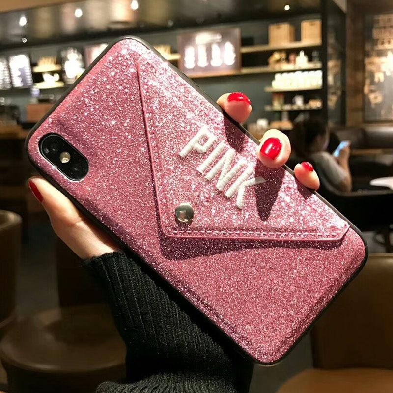 Luxusní růžová zbrusu nový Glitter vyšívací kožená móda Cute Pink pouzdro pro iPhone 7 Plus 7 + 8 Plus 6 6s X Phone Secret