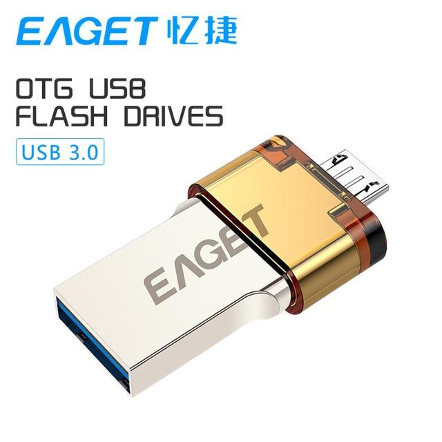Eaget v80 oficial 32g smartphone usb 3.0 flash drive pen drive otg micro usb usb stick de memoria portátil de doble enchufe
