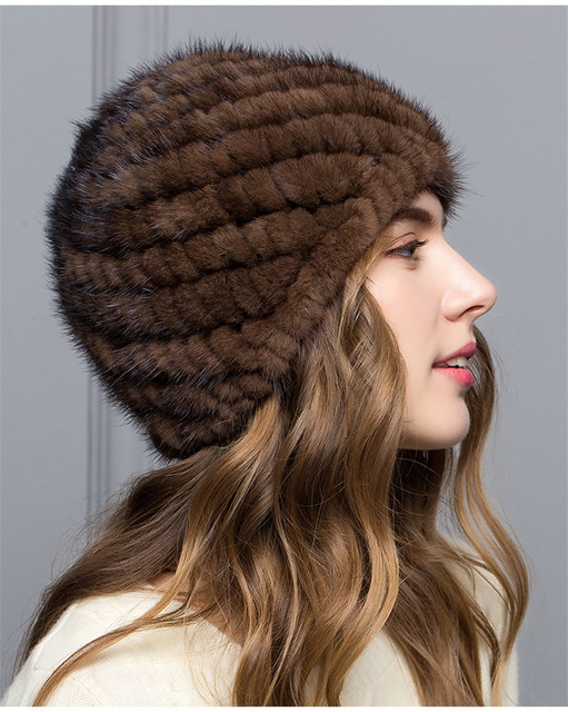 Mujeres Real de piel de visón sombrero sombrero de piel de invierno Ruso Mujeres Del Sombrero Del Invierno de la Gorrita Tejida Envío Libre