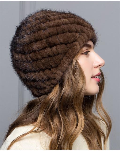 Mulheres Reais mink chapéu do inverno da pele chapéu de pele Russa Mulheres Inverno Hat Beanie Frete Grátis
