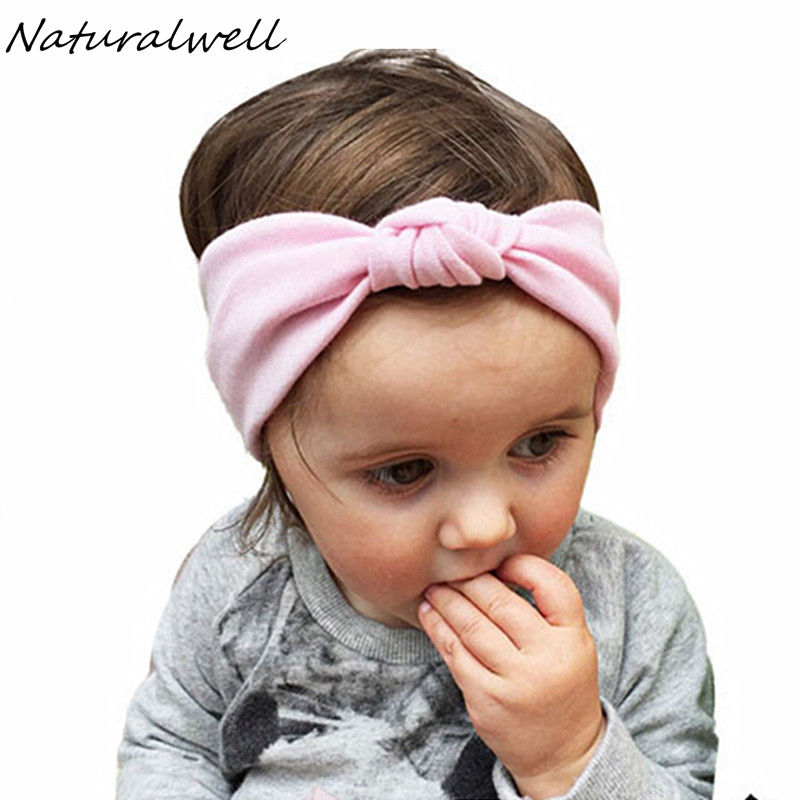 Naturalwell solid hairbands for Newborn girls Cotton hair wrap accessories elastic twist headdress best gift for kids HB443
