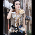 2016 New Real Rabbit Fur Vest With Large Fox Fur Collar Waistcoats Fashion Women Rabbit Fur Jacket
