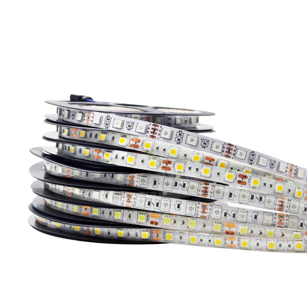 LED Strip 5050 RGB Lights Waterproof 12V  RGB/White/Warm White/RGBW/RGBWW Fita LED Strips Flexible Neon Tape Luz Monochrome