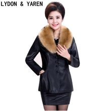Fashion 2017 For middle-aged women Demi-season short slim with lapels Zippers leather jacket plus Sizes Casual coat