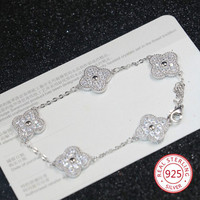 S925 sterling silver four leaf clover bracelet female models European and American fashion hand jewelry Christmas gifts