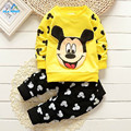 AiLe Rabbit baby boys and girls autumn winter clothes for the baby cute cartoon printed Mickey shirt + trousers cotton clothing