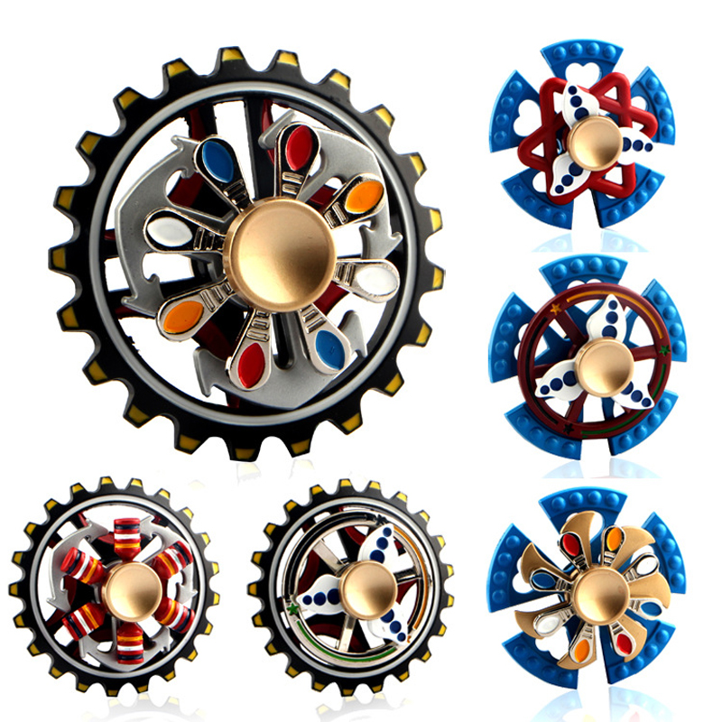 New Three Bearing Metal Fidget Spinner Pirate Ship Wheel Gear Fingertip Gyro Fidget Hand Spinner Desk EDC Toy Hand Spinner tri blade hand fidget spinner focus toy