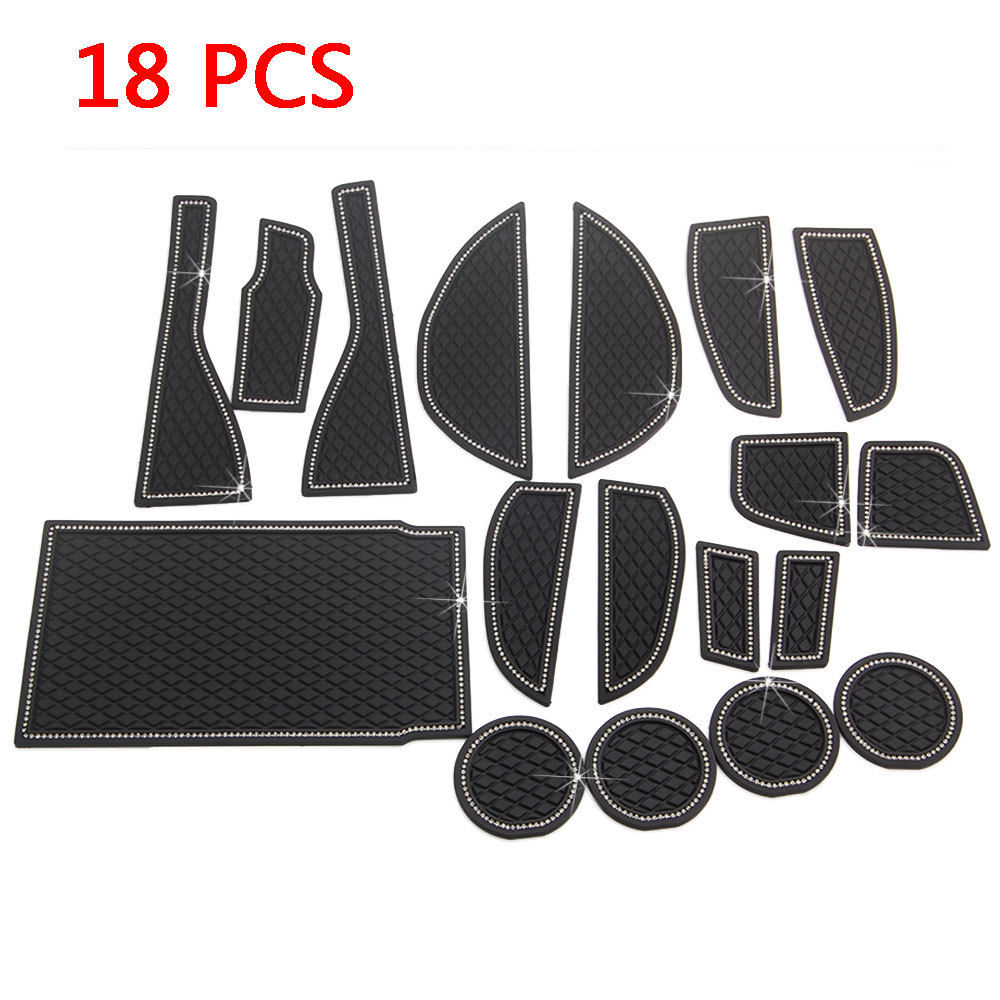 Car Inner 18pcs Rubber Non slip Inner Door Slot Pad Water Cup Mat Fit For Lexus NX300H NX200T Car Styling Car Covers Accessories