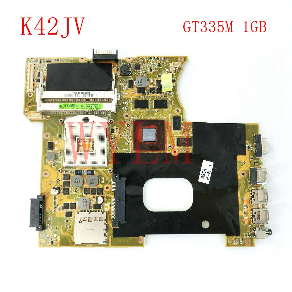 K42JV GT335M 1GB mainboard REV2.2 For ASUS A42J X42J K42J K42JR Laptop motherboard 60-NZNMB1100-B14 Tested Working цена