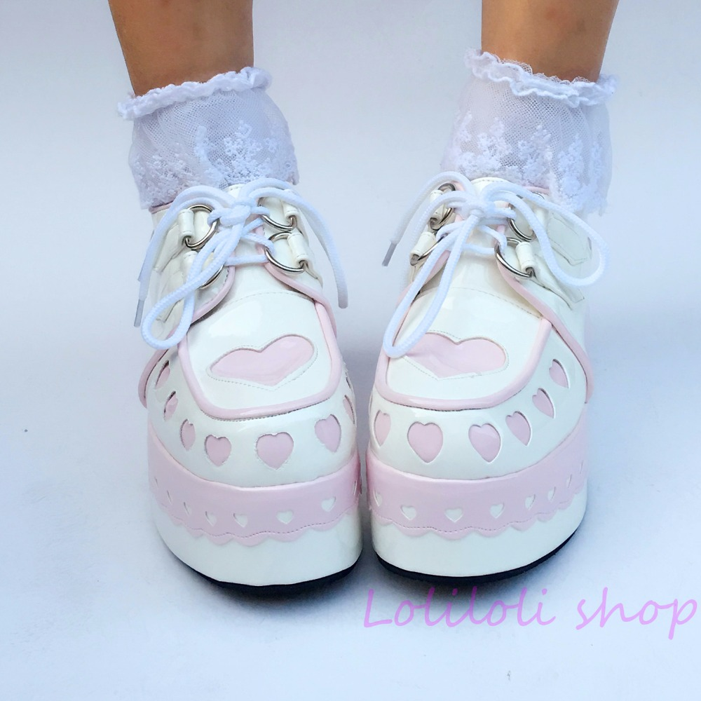 Princess sweet lolita shoes Japanese design customized special shaped shoes pink heart shaped white platform shoes lace 1234 цена