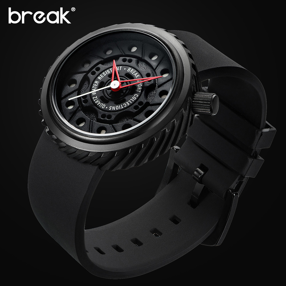 BREAK Top Luxury Men Racing Motorcyle Sport font b Watches b font Rubber Strap Casual Fashion