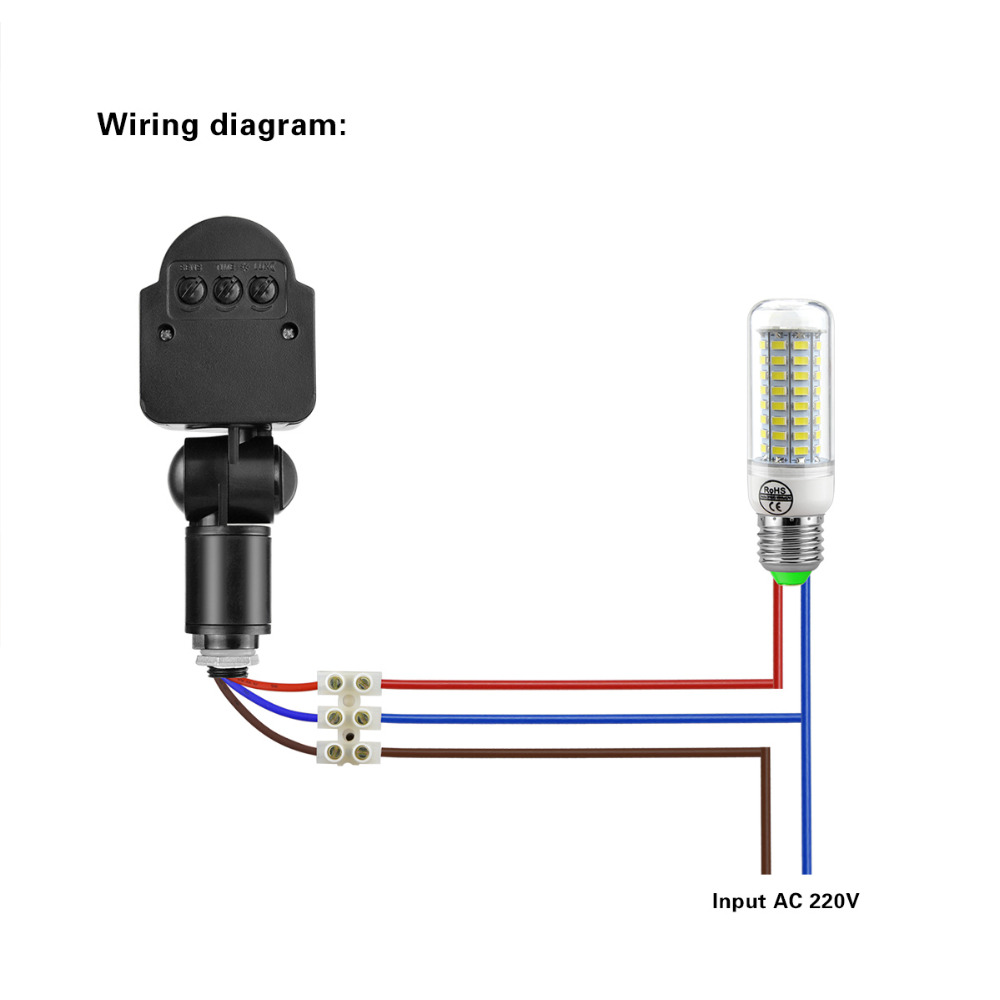 Led Pir Infrared Motion Light Switch 180 Degree Rotating Outdoor Sensor Wiring Diagram Detector 220v Wall Lamp In Switches From Lights Lighting On