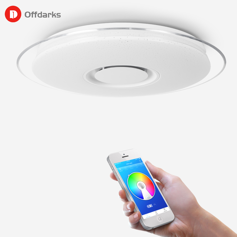 Inteligentna muzyka LED lampy sufitowe RGB ściemniania 36W 52W 72W pilot aplikacji sterowania nowoczesne lampy Bluetooth światła lampy do sypialni lampy sufitowe