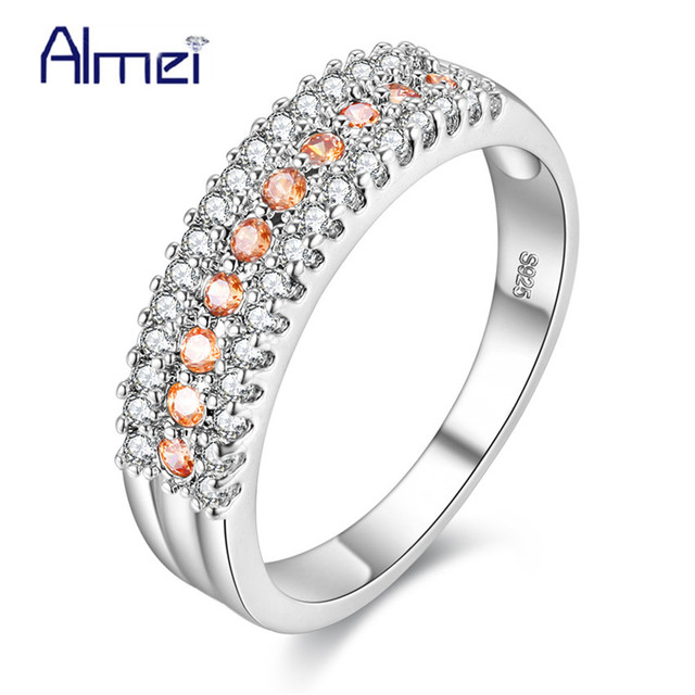 49% Off Fashion Crystal Silver Color Rings High Quality for Women Wedding Band Valentine's Day luxury Lovers' Gift Ring Y014