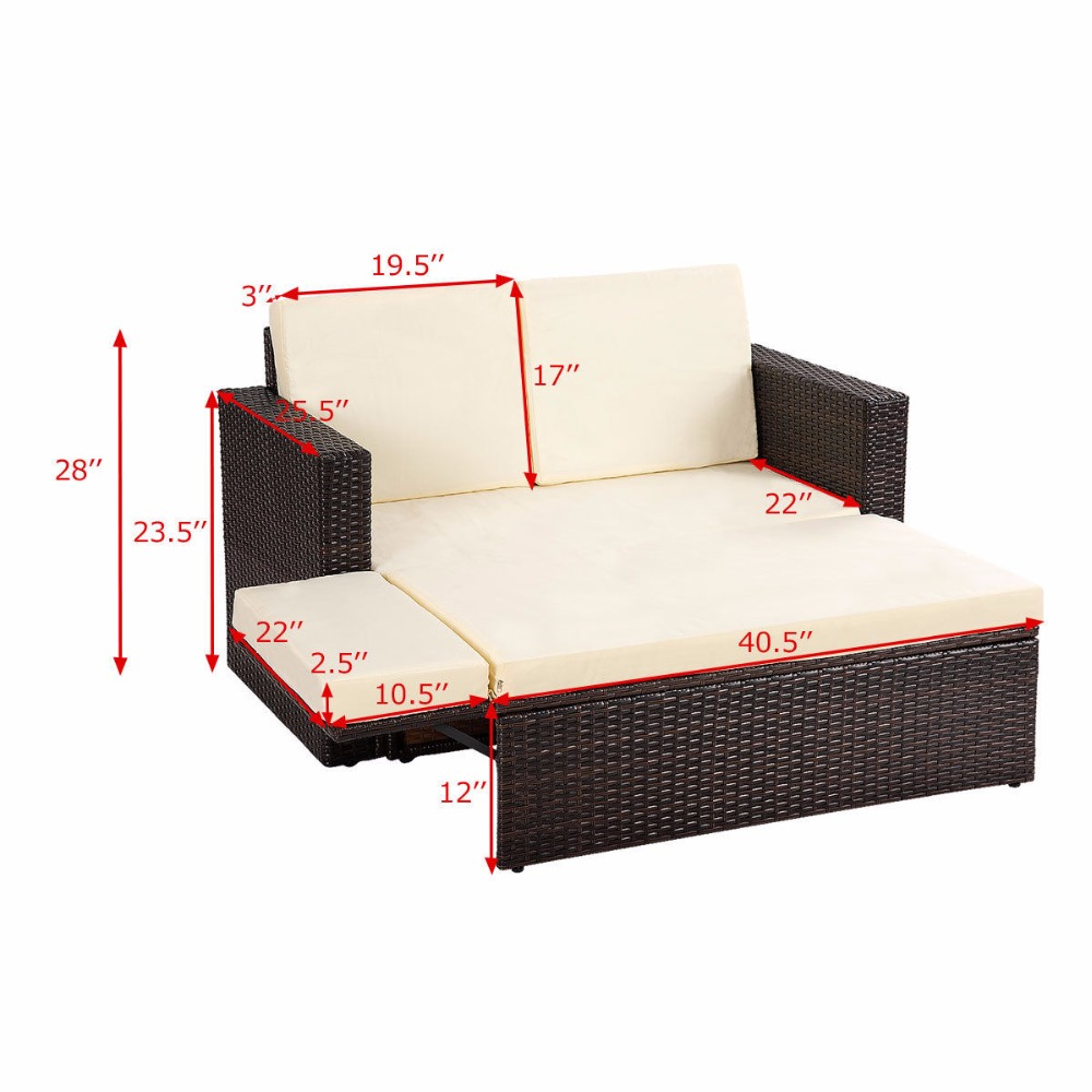 Rattan Gartensofa Giantex 2pcs Patio Rattan Loveseat Sofa Ottoman Daybed Garden Furniture Set W Cushions Outdoor Furniture Hw58604 In Garden Sofas From Furniture On