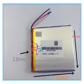 10 pcs 3.7V 4000mah 388992 409090 Lithium Polymer Li-Po Rechargeable battery For GPS Power bank Tablet PC MID DVD PAD