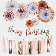 2sets Rose Gold Decor Paper Fans Happy Birthday Banner Tissue Tasssel garland For Party Favor Wedding