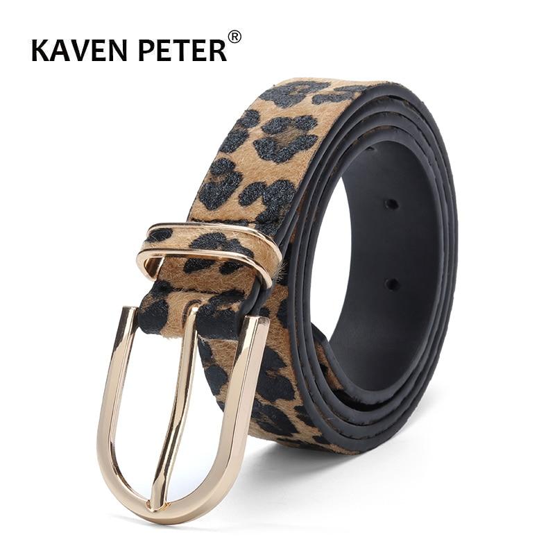 Fashion Belt For Women Horsehair Female Belt With Leopard Pattern Gold Metal Buckle Pu Waist Belt Cummerbund Ceinture Femme