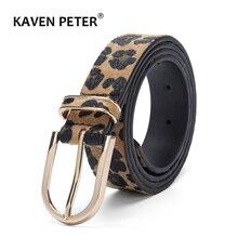 купить Fashion Belt For Women Horsehair Female Belt With Leopard Pattern Gold Metal Buckle Pu Waist Belt Cummerbund Ceinture Femme дешево
