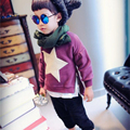 Мода Унисекс Девочки Мальчики Звезда С Длинным Рукавом T Футболки Малыш Дети Повседневная Пух Сторона Молния Открытым пуловер