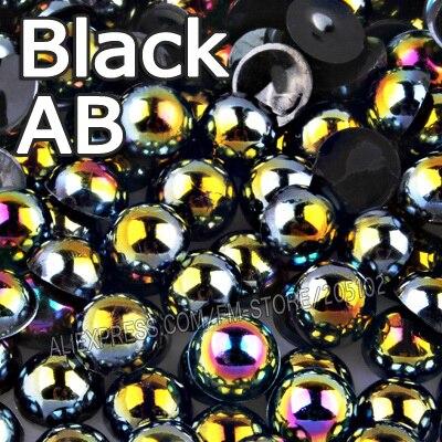 Черный AB Половина круглый шарик Mix Размеры 2 мм 3 мм 4 мм 5 мм 6 мм 8 мм 12 мм имитация ABS плоской задней жемчуг для DIY Nail Art Jewelry аксессуары