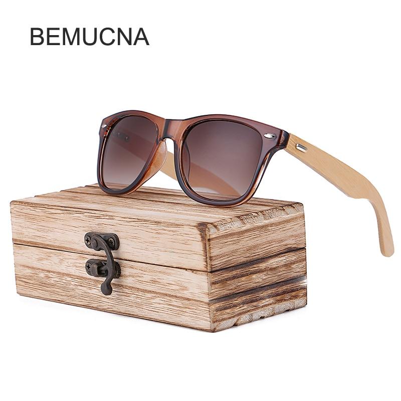 2018 New BEMUCNA Bamboo Sunglasses Men Wooden glasses Women Brand Designer Original Wood Sun Glasses Women/Men Oculos de sol
