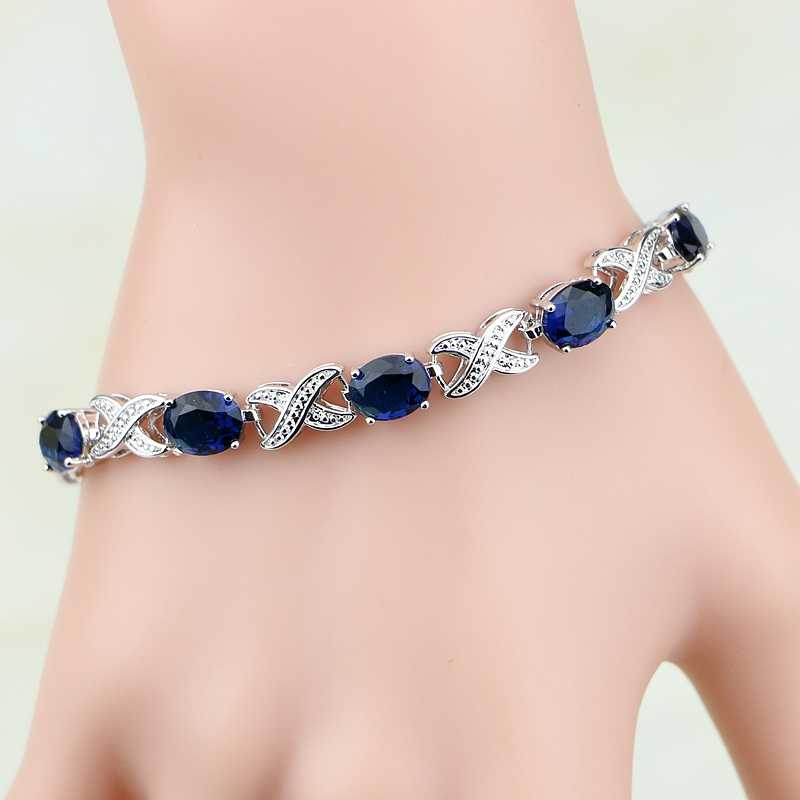 925 Sterling Silver Jewelry  Blue Zircon White CZ Chain&Link Charm Bracelets For Women Free Gifts Box& S100