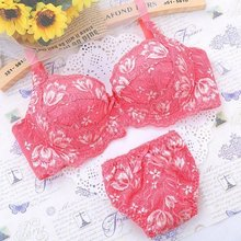 Japan Bra Embroidery Underwear Set Lace Gather Sexy Women Push Up 2158